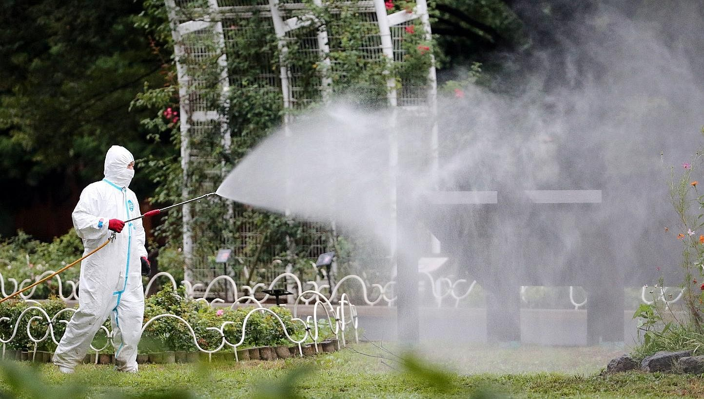 This picture taken on Aug 28, 2014, shows a worker spraying insecticide at the Yoyogi park, one of the largest open spaces in central Tokyo, believed to be the source of the mosquito-borne dengue fever. -- PHOTO: AFP
