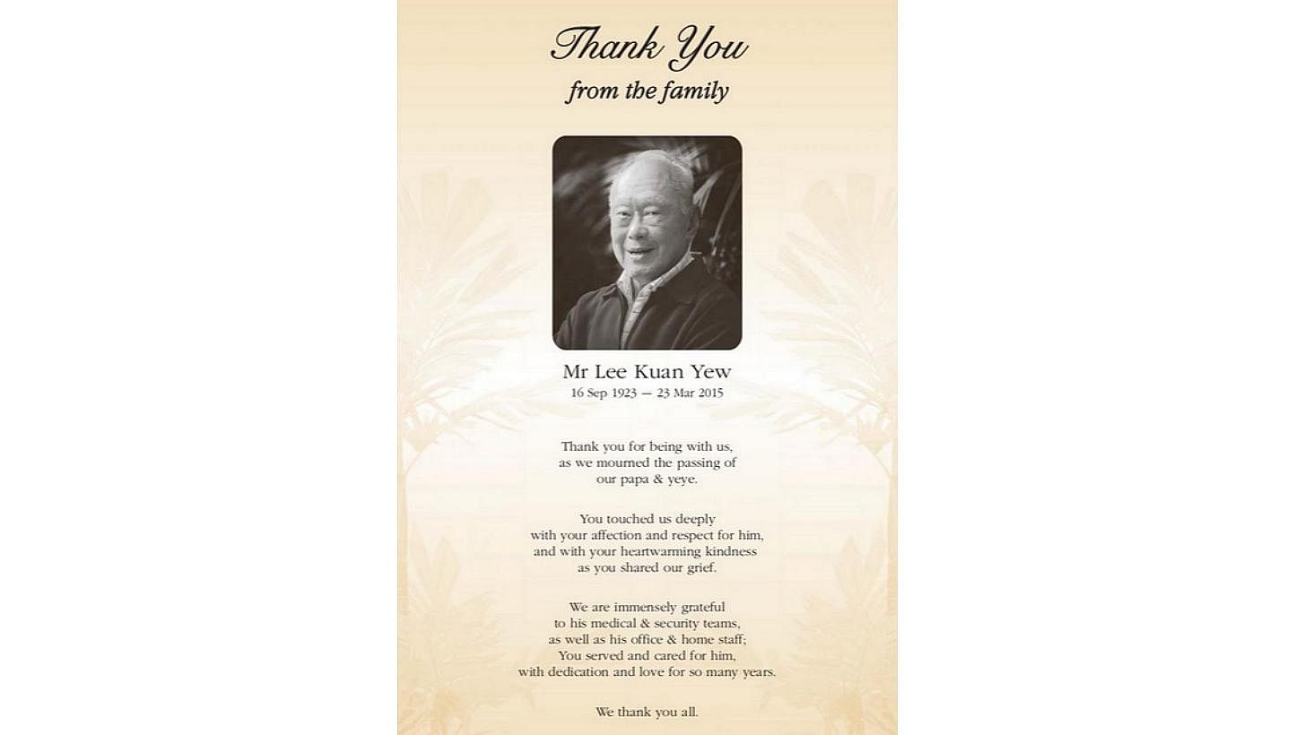 Mr Lee Kuan Yew's family expresses its thanks to all in