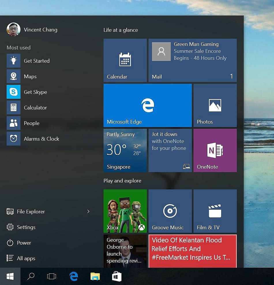 The facelifted Windows Store; the Start menu with a left panel showing frequently used apps, File Explorer and the revamped Settings apps; Microsoft's alternative to Flipboard; and Action Center, which displays notifications fro