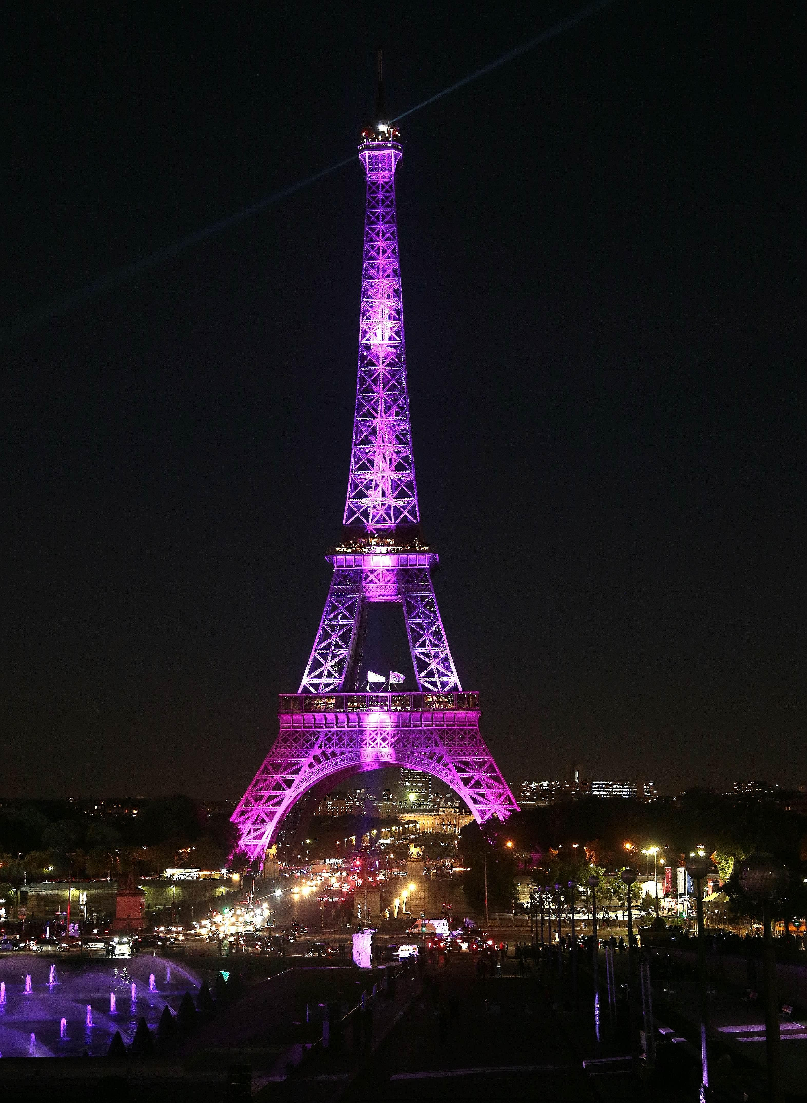 A picture taken on Sept 28 showing the Eiffel Tower illuminated with pink light as part of the Ruban Rose event launched by Paris Mayor Anne Hidalgo, part of the 22nd campaign against breast cancer, and to mark Breast Cancer Awareness Month, which is