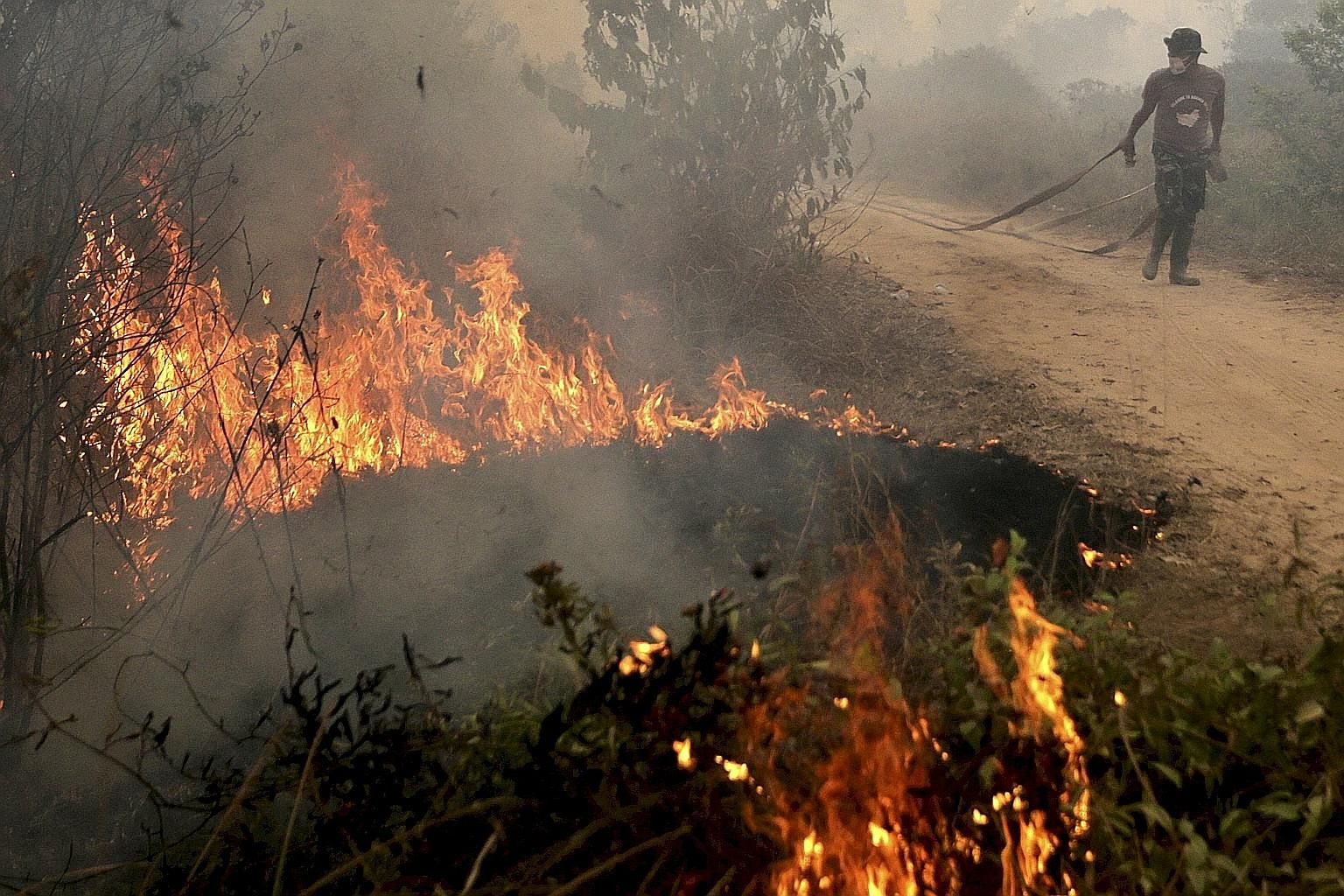 An Indonesian soldier fighting a peatland fire in South Sumatra last month. According to the writer, the real cause of the haze is the drainage of peatlands which become a tinderbox that can easily be set alight, burning in conditions that create mor