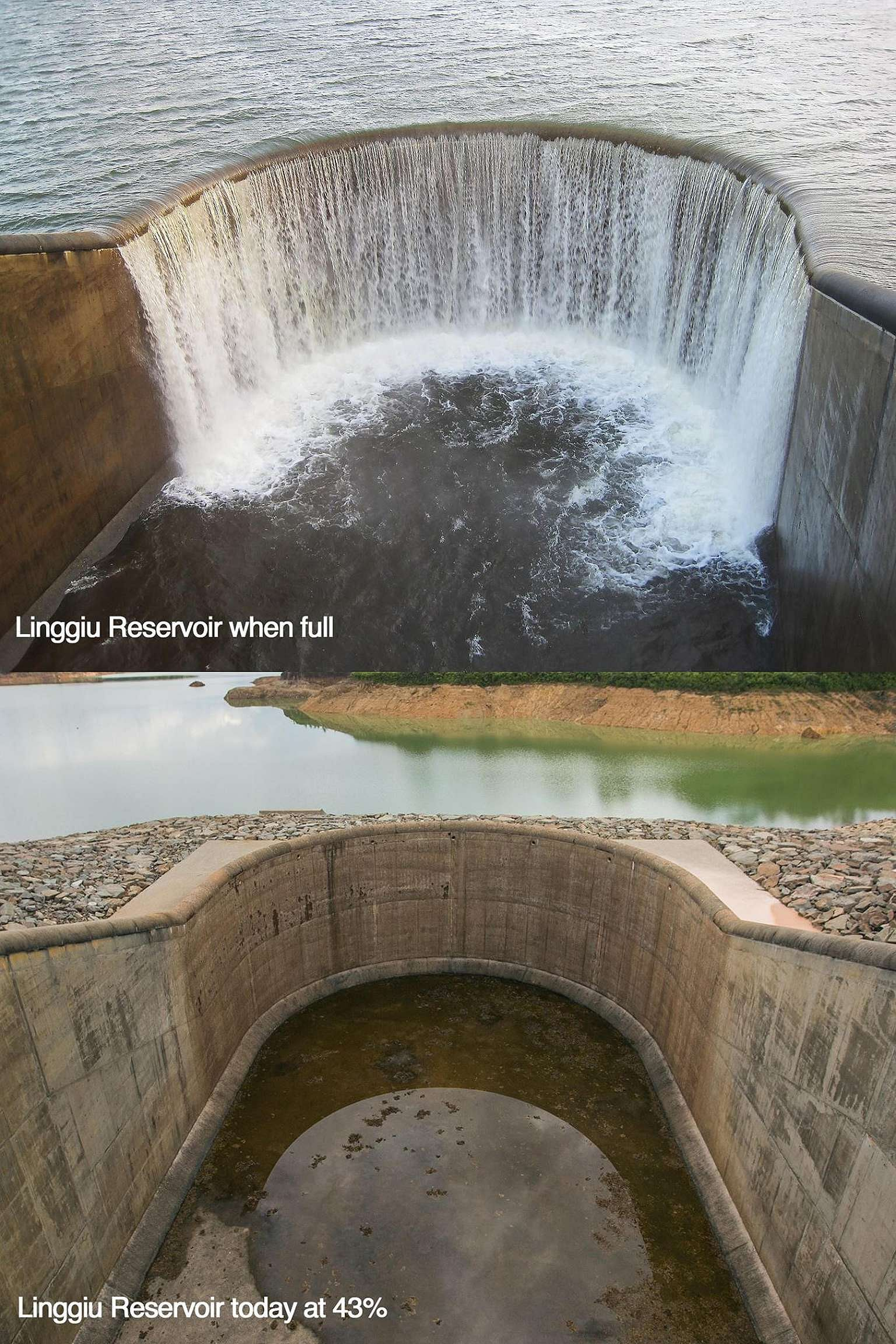 In photos posted last Friday, the water level at the Linggiu Reservoir was shown to have dropped significantly.