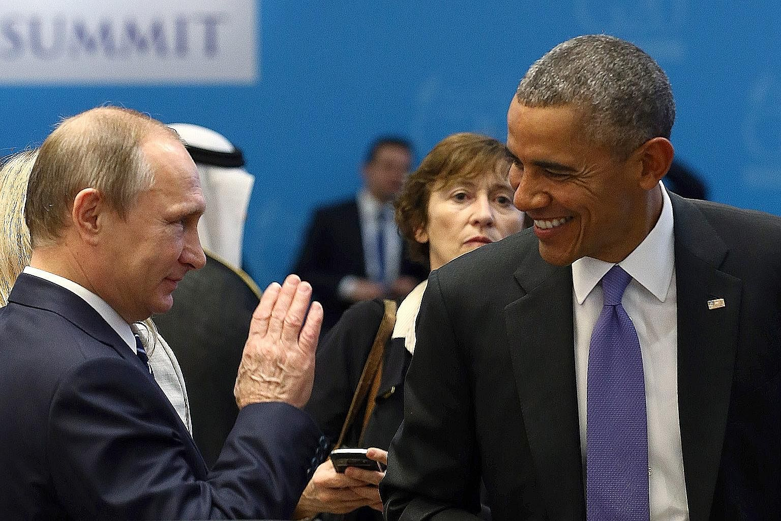 Mr Vladimir Putin (left) and Mr Barack Obama could find a middle ground in the Syrian conflict.