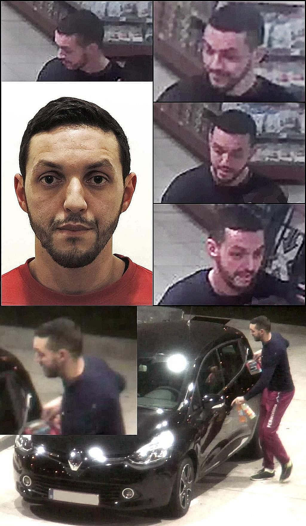 Belgium's state prosecutor has issued an international arrest warrant for Mohamed Abrini (left, in CCTV images), who was seen with Salah Abdeslam, suspected to be the eighth attacker mentioned by ISIS when it claimed responsibility for the Paris atta