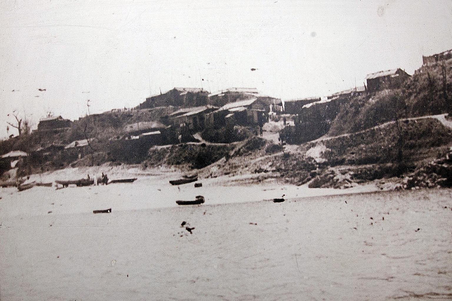 Old photos showing scenic Bamseom's sandy white beaches (far left) and the homes of its residents (left) before they were relocated to the slopes of Mount Wawoo in western Seoul.