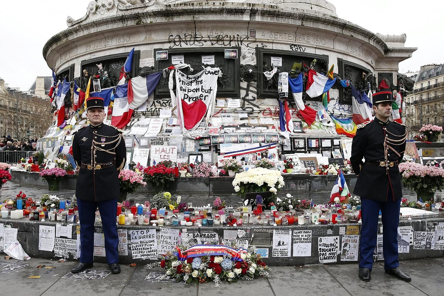 Tributes at a ceremony to remember the victims of the terrorist attacks in Paris last January, at Republique Square, earlier this month.