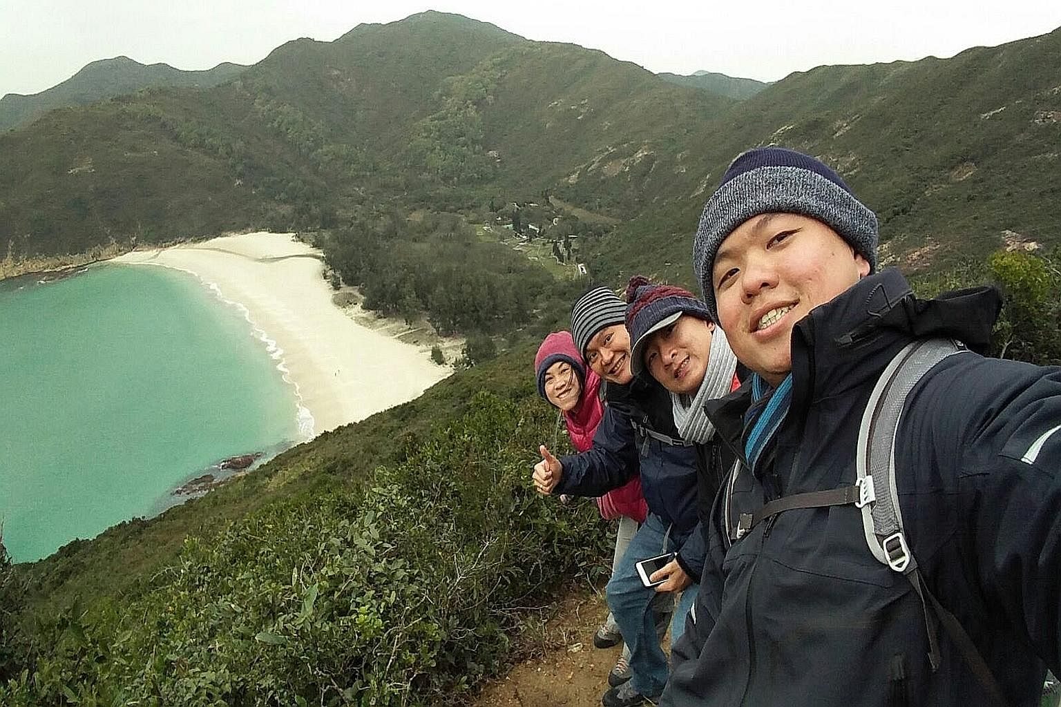 a snapshot of icicles. Singaporean pilot Mr Tan and his three friends were hiking at Sai Kung in the New Territories