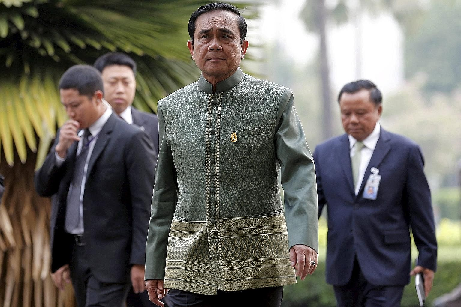 Thailand's Prime Minister Prayut Chan-o-cha arriving for a Cabinet meeting at Government House in Bangkok this week. While analysts say Thailand's generals are in no hurry to hand over power, the lower-than-expected economic growth of about 2.8 per c