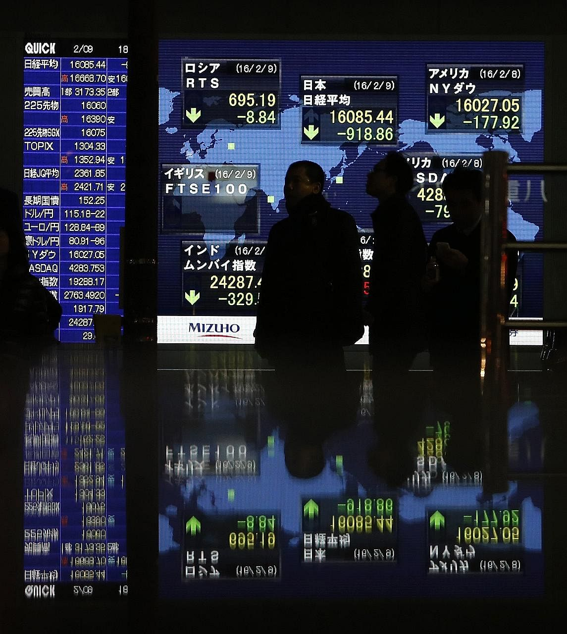 An electronic board showing stock indices outside a brokerage in Tokyo on Tuesday. Japanese corporate leaders, however, are shrugging off the market troubles.