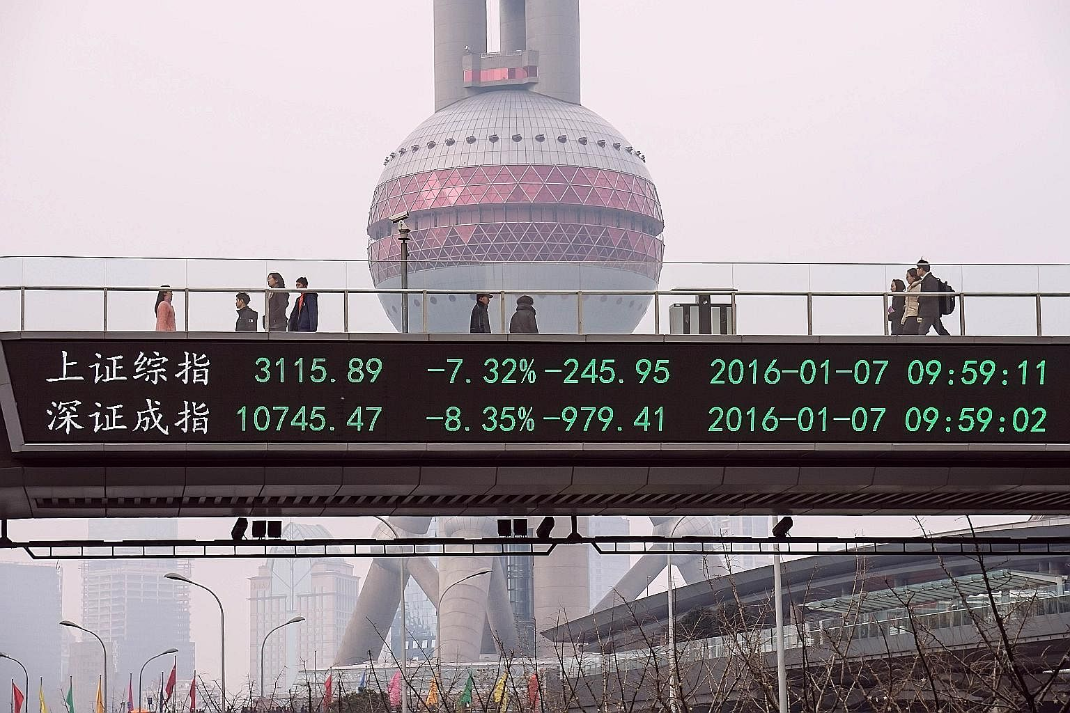 A bridge in Shanghai displaying share price movements. A year of stock market turmoil led to China's leaders dismissing China Securities Regulatory Commission chairman Xiao Gang last Saturday. New securities watchdog chief Liu Shiyu must seek to rest