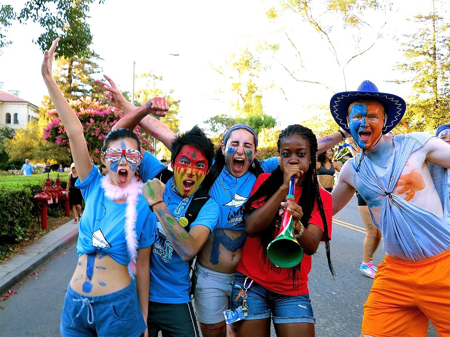 The writer (second from left) with his friends welcoming freshmen during an orientation event at Pomona College in Claremont, California, in 2012.