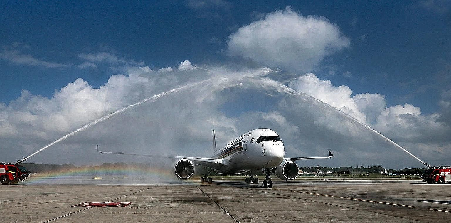 Two fire engines gave the Airbus 350 a water-cannon salute - reserved only for historic aviation moments - as it taxied to the parking bay at Changi Airport's Terminal 3 yesterday. SIA is the biggest customer for the fuel-efficient A-350-900, with 67