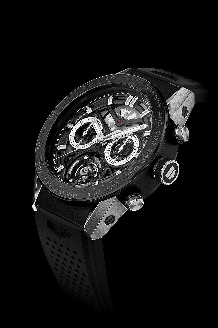 The Carrera Heuer-02T has a tourbillon, which is an intricate, gyroscope-like mechanism.