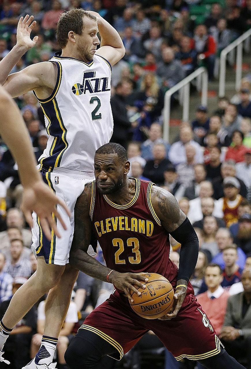 LeBron James' 23rd double-double of the season wasn't enough to prevent the Cleveland Cavaliers from falling 85-94 to the Utah Jazz.
