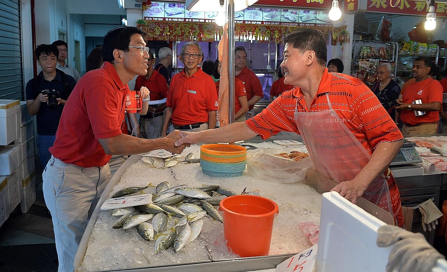 Dr Chee making his rounds in Bukit Batok on Sunday. The SDP leader is contesting in the by-election in the constituency.