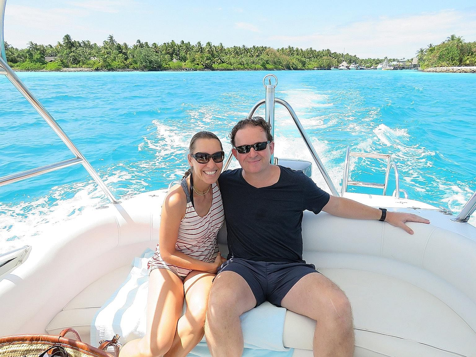 Mr and Mrs James Lohan on holiday in the Maldives.