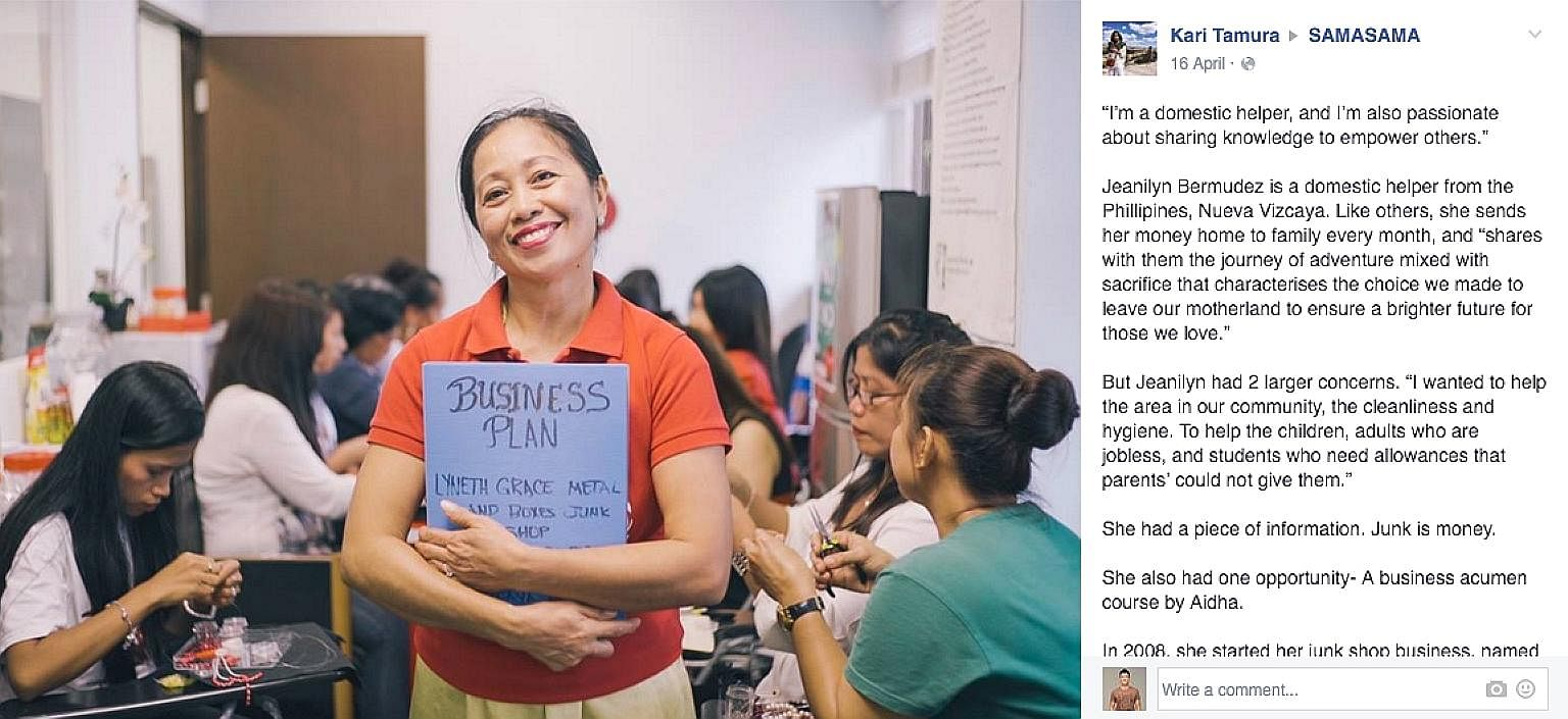 Competitive eater Thomasina Ow with the 3.2kg burger she demolished in 43 minutes last Wednesday. Ms Bermudez's path from maid to businesswoman with 15 workers is an inspiring story shared by Facebook group SamaSama, which seeks to improve the lives