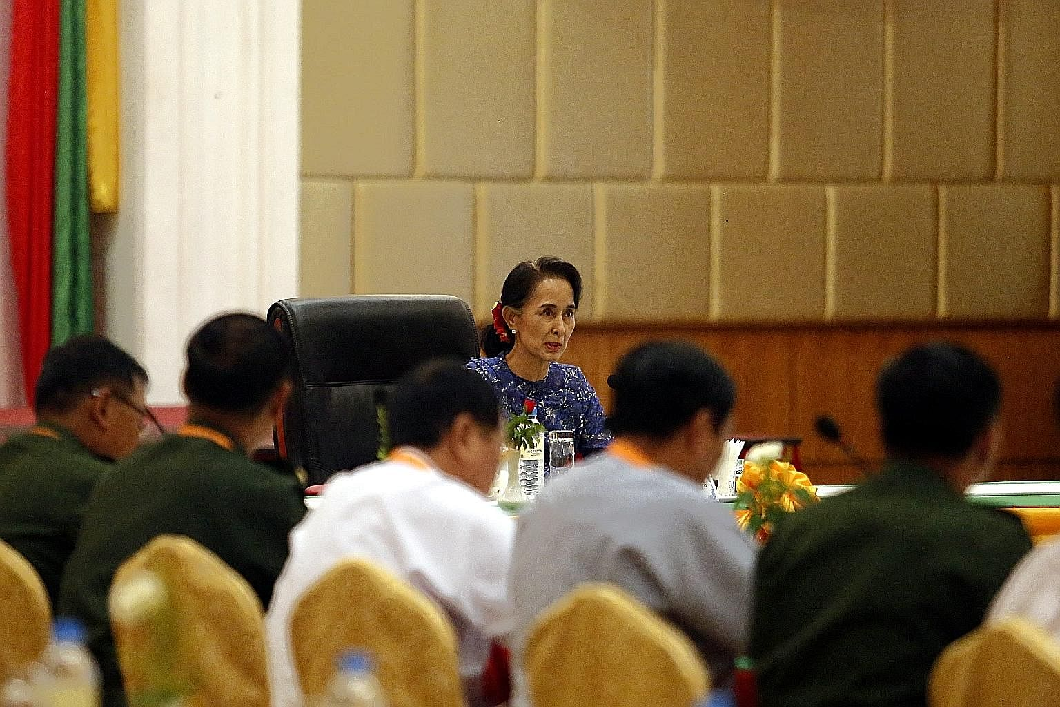 Ms Suu Kyi addressing the committee that monitors the National Ceasefire Accord on Wednesday.