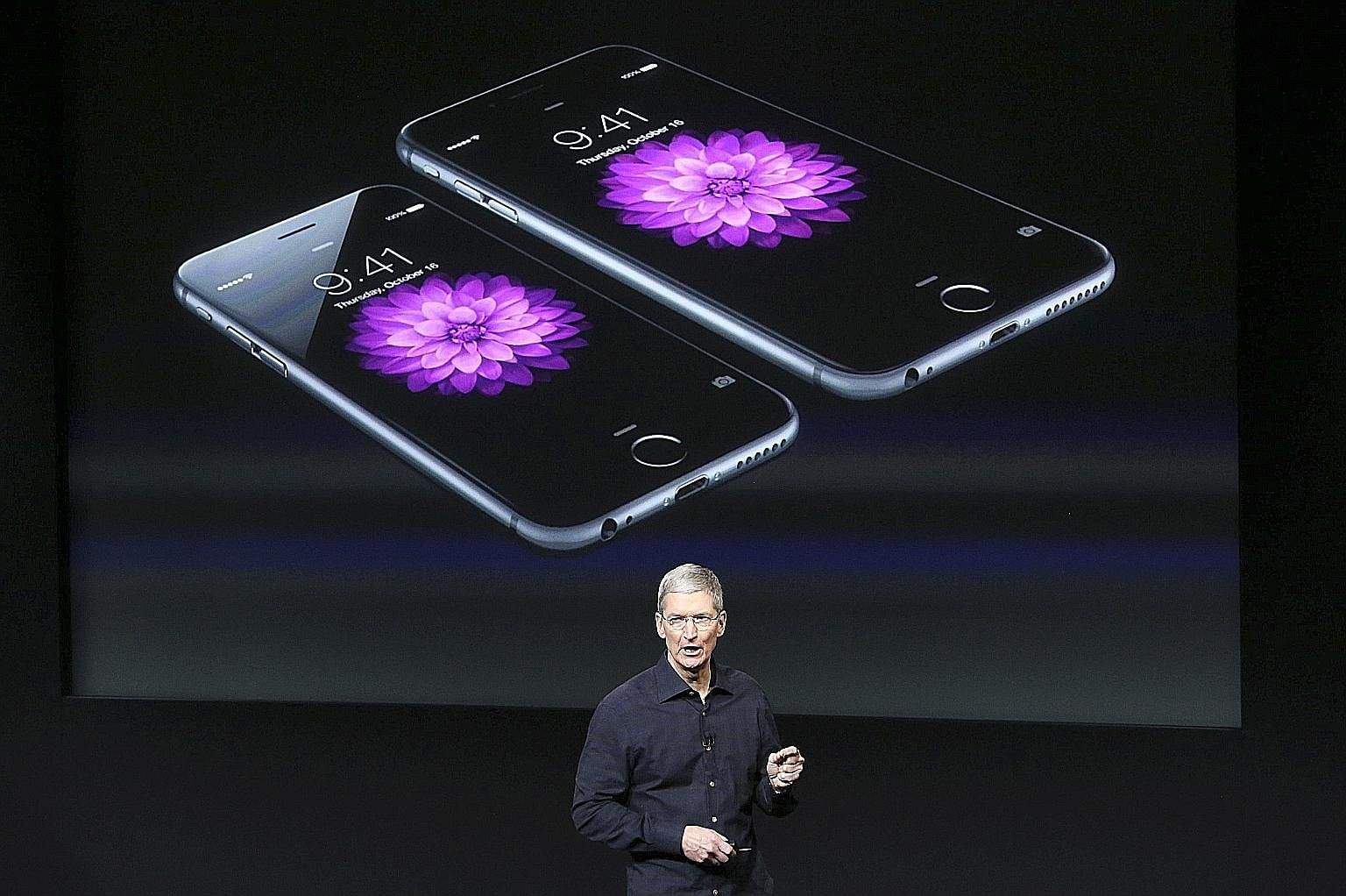 Apple CEO Tim Cook with a screen displaying the iPhone 6 during a presentation at Apple headquarters in Cupertino, California, in an Oct 16, 2014 file photo. Previously, under Mr Steve Jobs, Apple had a track record of cannibalising its own products.