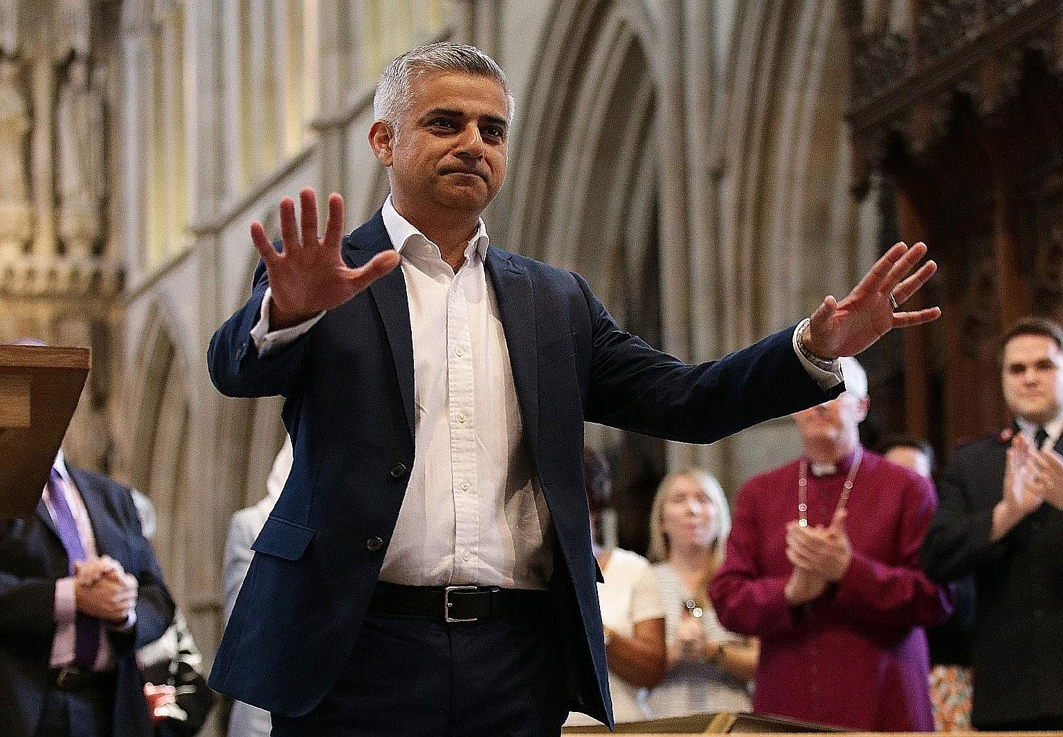 London's incoming mayor Sadiq Khan, who was the Labour candidate, at his swearing-in ceremony yesterday. His win was the sole consolation for the opposition party.