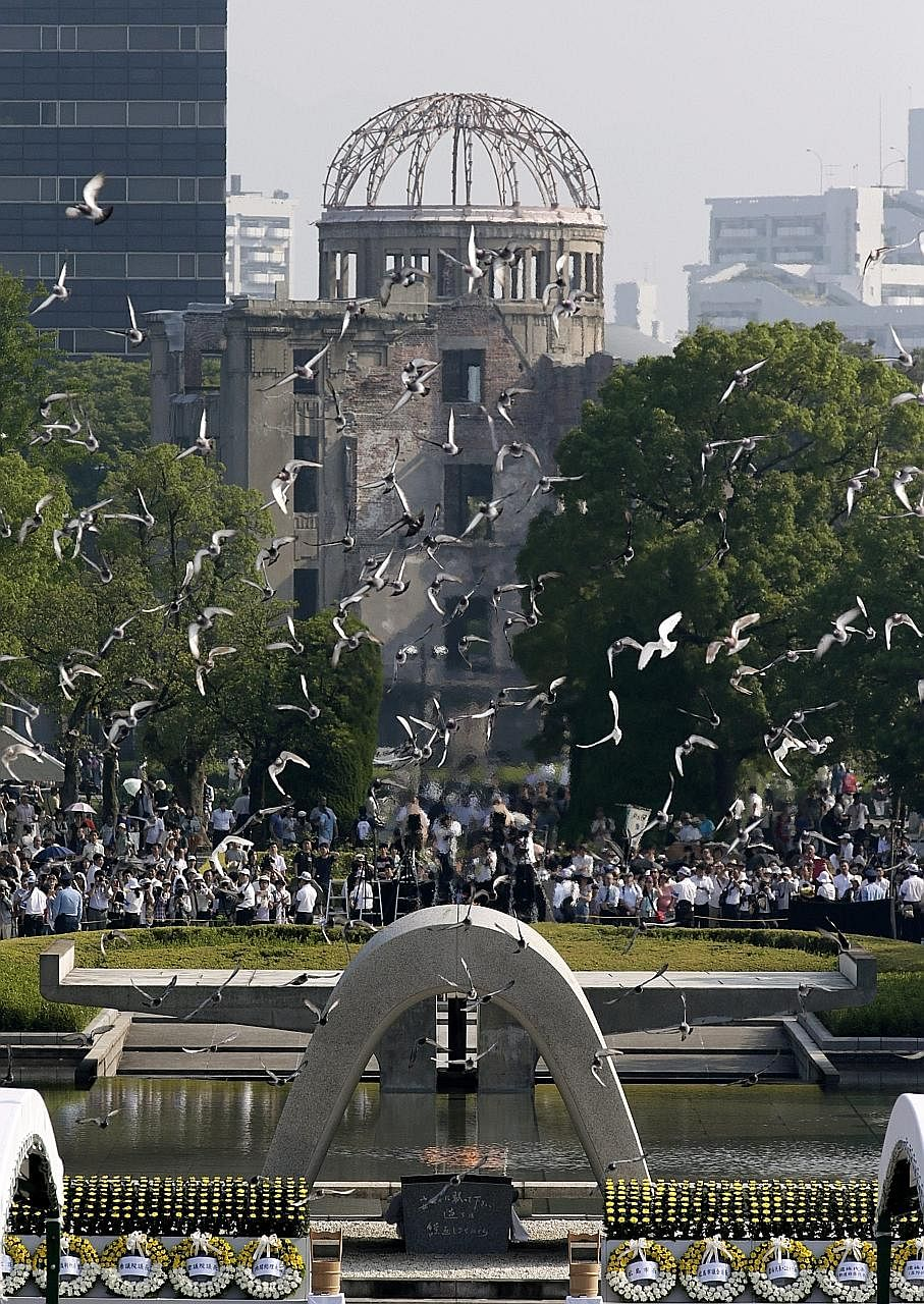 Later this month, Mr Obama will visit the Hiroshima Peace Memorial Park (right), which is dedicated to those who died during the bombing. The White House said Mr Obama will not apologise for President Harry Truman's decision to use the bomb, which ma