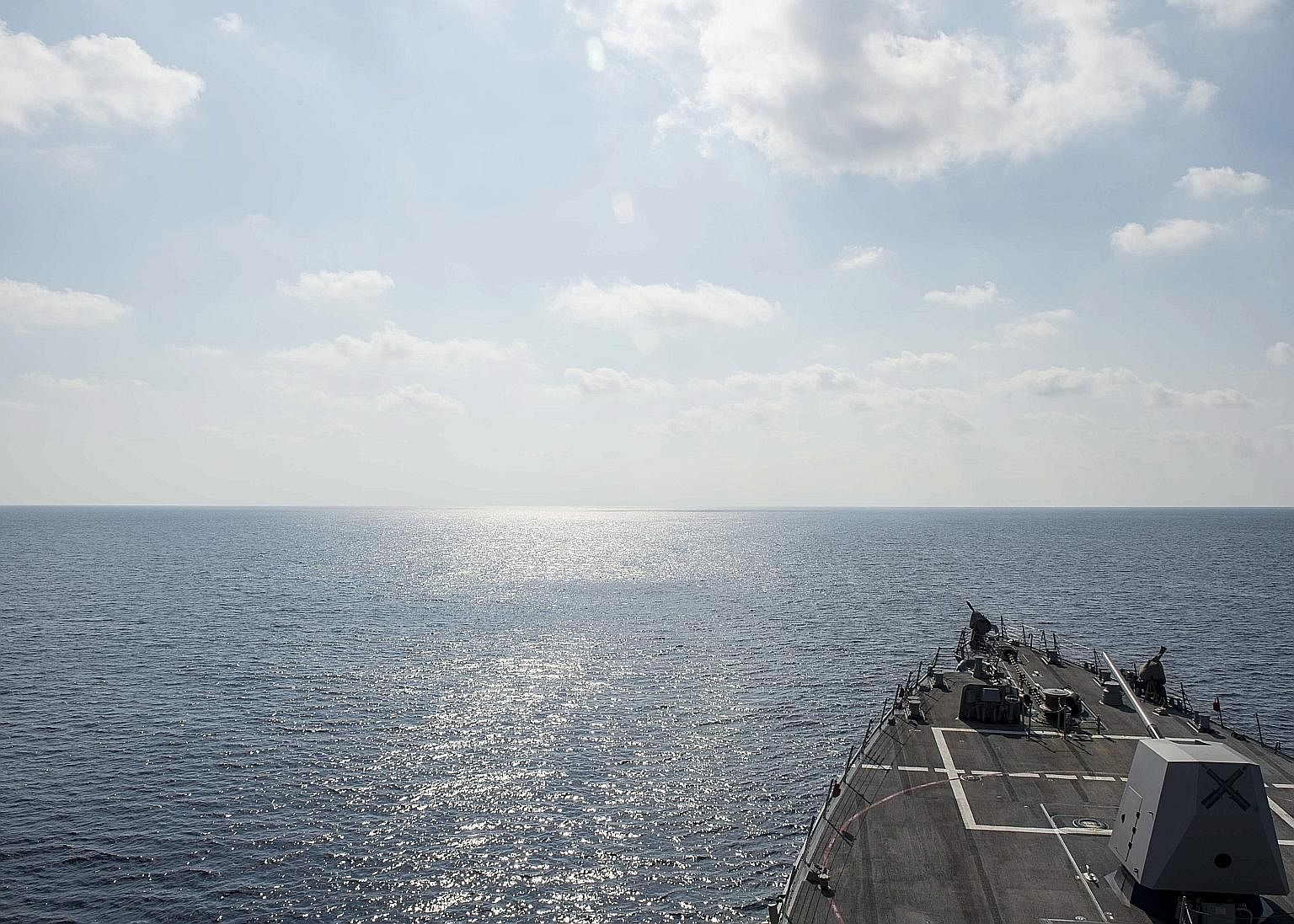 """The guided-missile destroyer USS William P. Lawrence conducting a routine patrol in international waters in the South China Sea on May 2. On May 10, the US vessel was reported to have conducted a """"routine freedom of navigation operation"""" sailing near"""