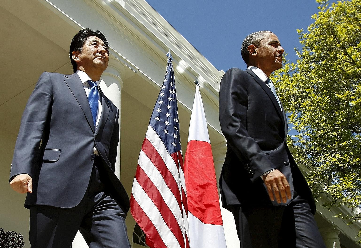 Mr Obama and Mr Abe in the Rose Garden of the White House during the latter's US visit in April last year. Mr Obama will visit the Peace Memorial in Hiroshima next week. While there are no current plans for Mr Abe to make a reciprocal visit to Pearl