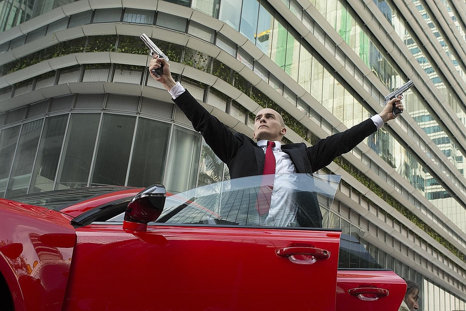 Agent 47, starring Rupert Friend (above), was shot in Singapore's Marina Bay.