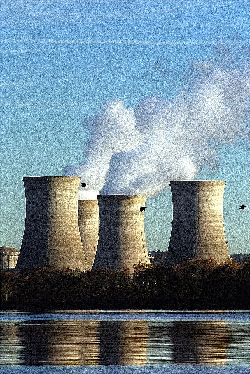 The Three Mile Island nuclear plant in Pennsylvania. Although renewable energy sources such as solar and wind have grown in popularity in recent years, nuclear plants still provide nearly 60 per cent of America's carbon-free power.