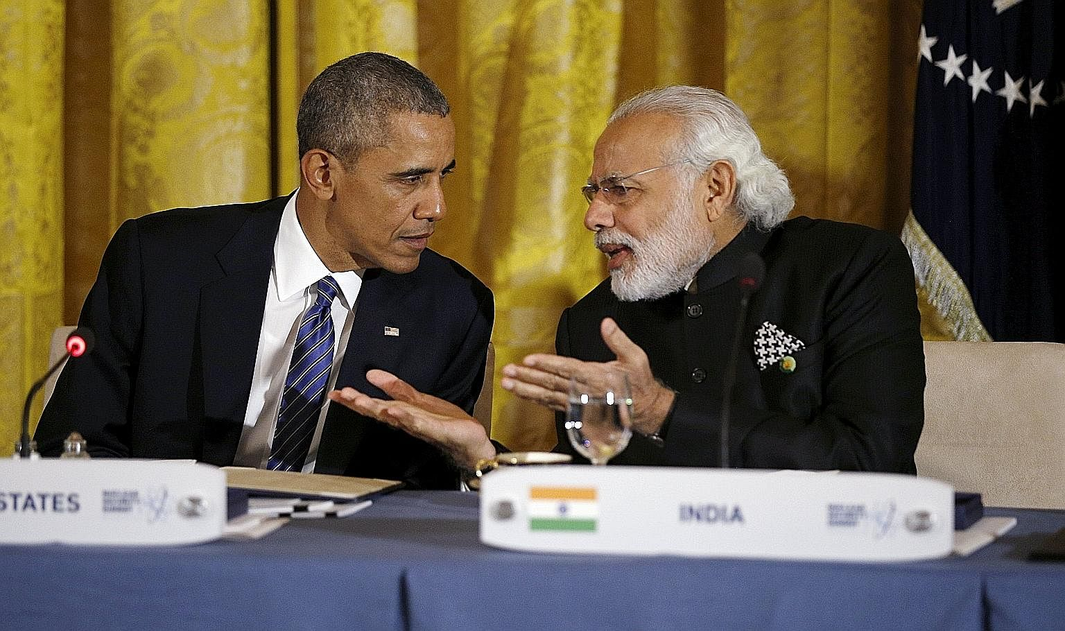 Mr Obama speaking with Mr Modi during a working dinner at the White House earlier this year. The two leaders have developed a strong personal rapport.