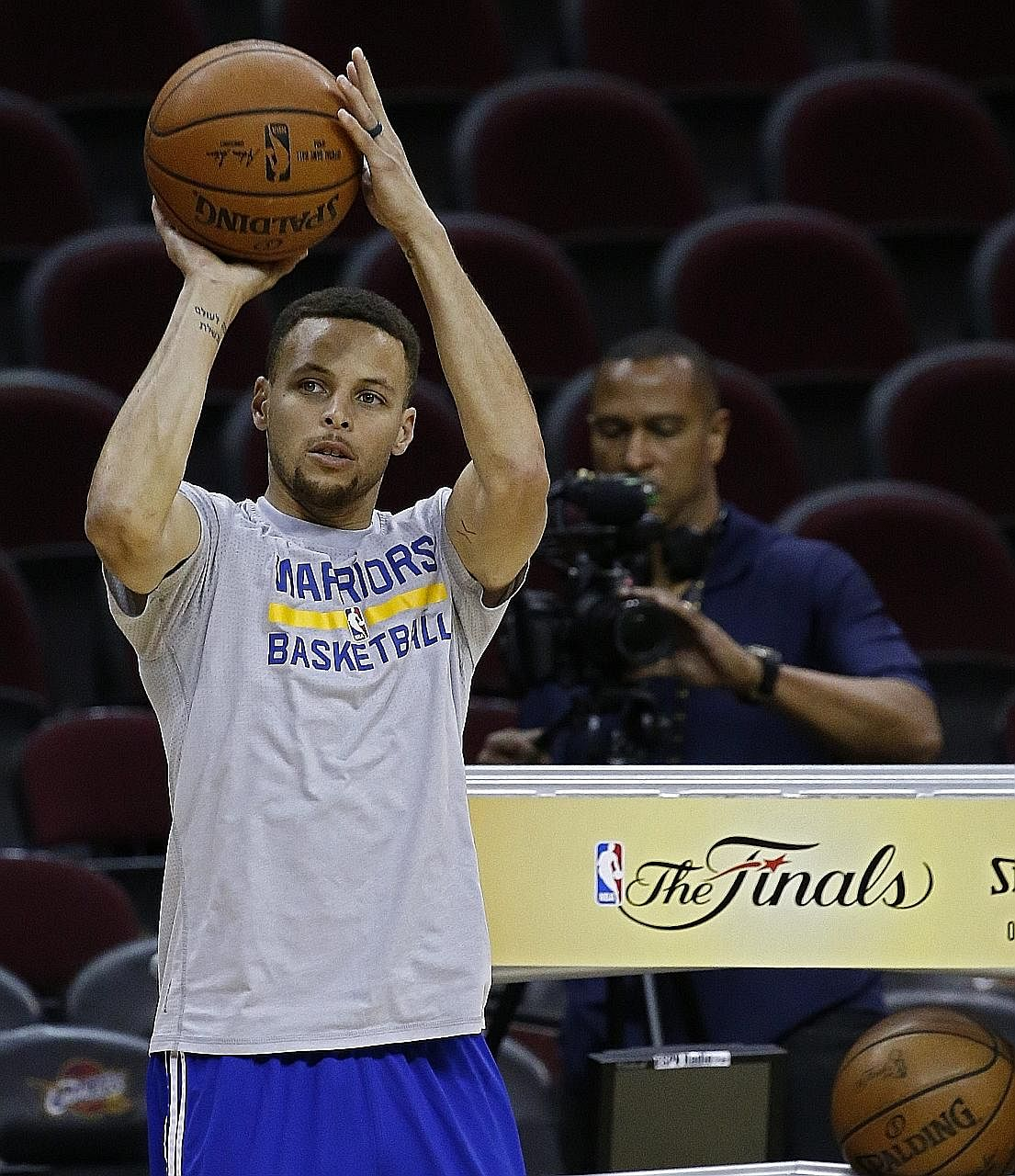 A pensive Golden State Warriors point guard Stephen Curry in practice on Thursday in Cleveland, ahead of today's Game 4 against the Cavaliers. With the Warriors' Finals series lead cut to 2-1, pressure is mounting for the two-time Most Valuable Playe