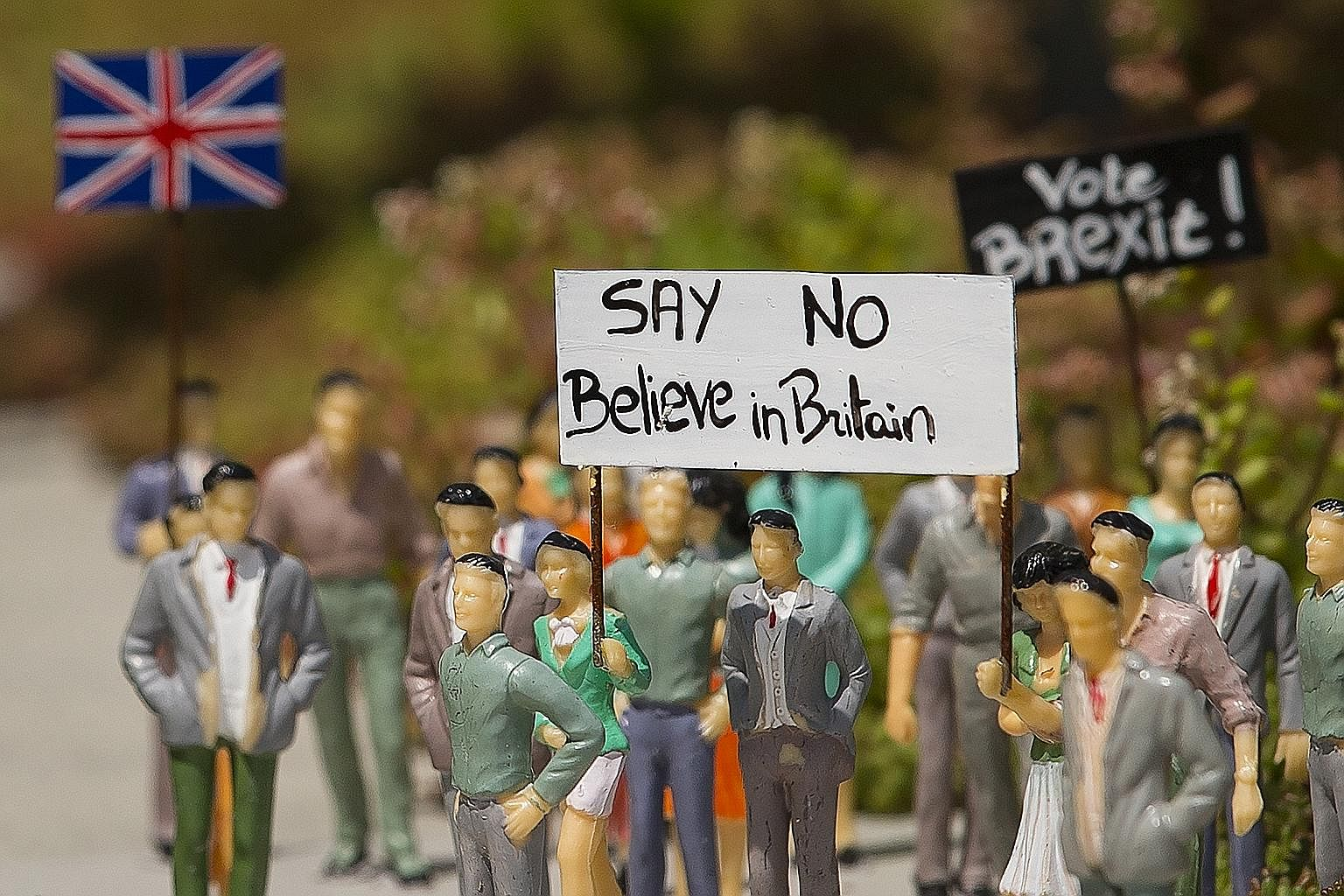 Miniature figures representing the debate for Britain leaving the EU on display at the Mini Europe theme park in Brussels, Belgium.