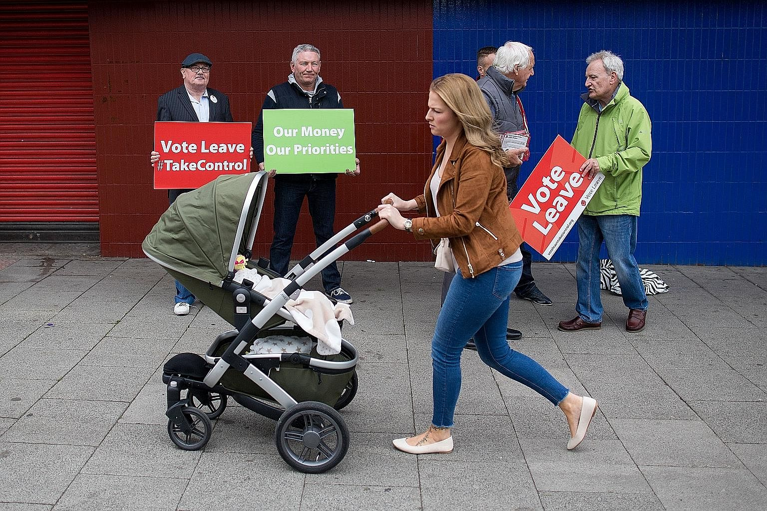 """""""Vote Leave"""" campaigners in Sunderland. The once-proud working-class city in England's north-east heartland stunned the country when its voters overwhelmingly opted to leave the European Union in last Thursday's referendum, by 61 per cent to 39 per c"""