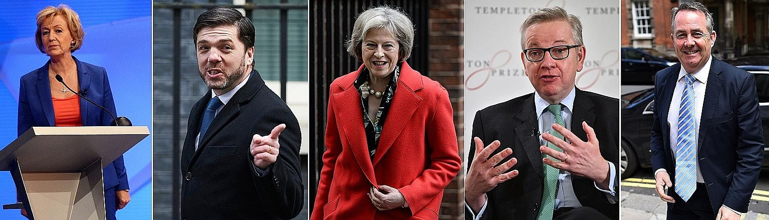 The five Conservative Party leaders in the race to be the next British prime minister are (clockwise from far left) Minister of State for Energy Andrea Leadsom, Work and Pensions Secretary Stephen Crabb, Home Secretary Theresa May, former defence sec