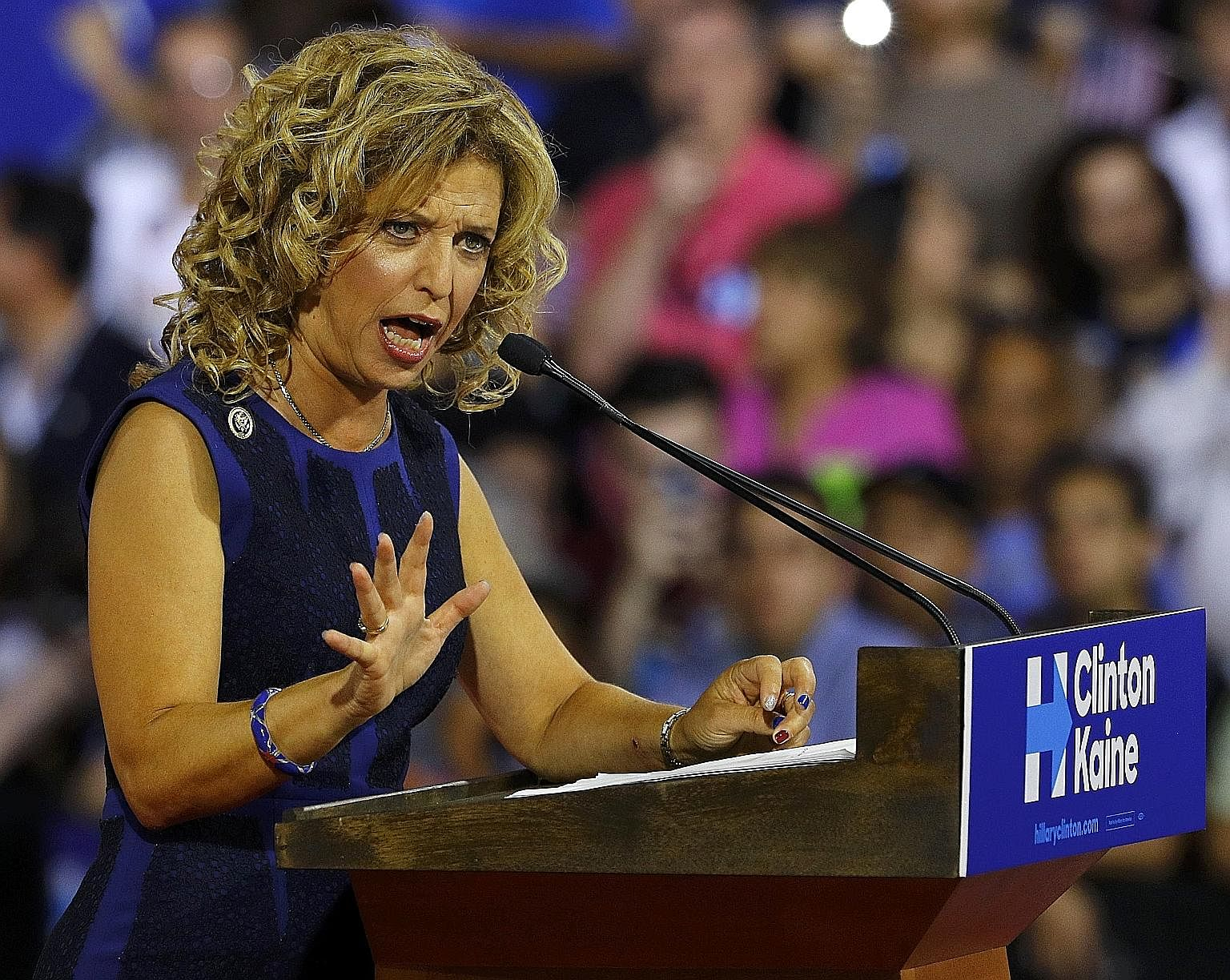 Evidence of the Democratic Party apparatus' attempt to damage Mrs Hillary Clinton's rival Bernie Sanders was embarrassing enough to force DNC chair Debbie Wasserman Schultz (above) to resign. An anti-Trump protester at the Republican National Convent