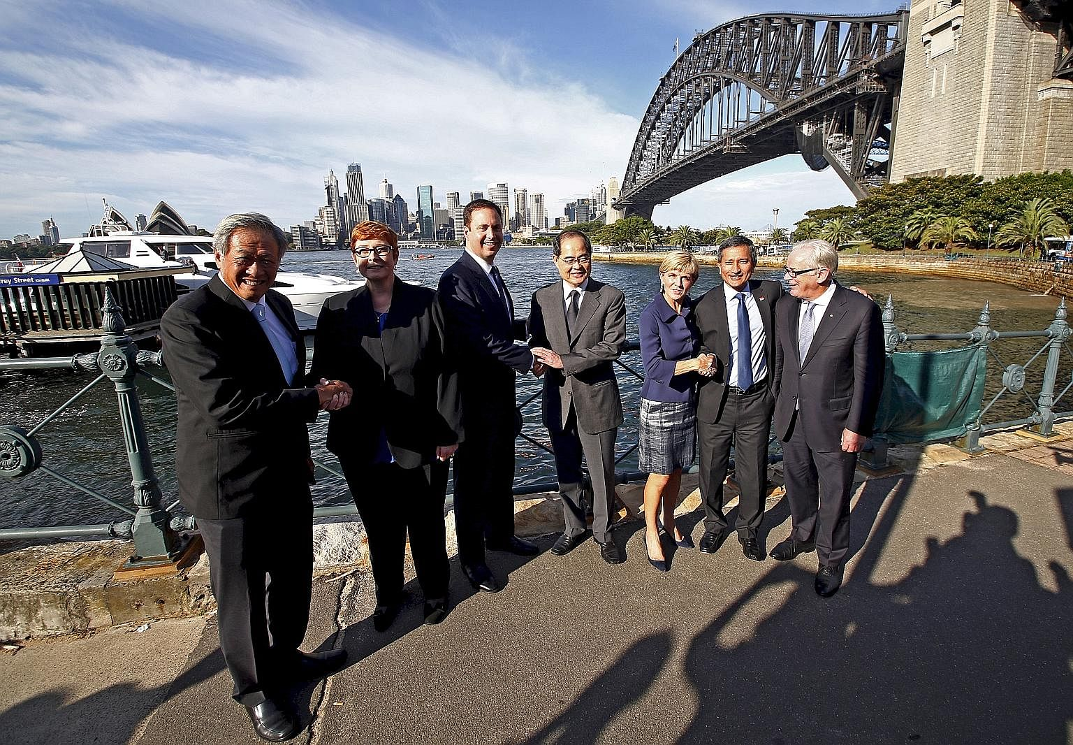 (From far left) Singapore Defence Minister Ng Eng Hen, Australian Defence Minister Marise Payne, Australian Trade Minister Steven Ciobo, Singapore Trade and Industry Minister Lim Hng Kiang, Australian Foreign Minister Julie Bishop, Singapore Foreign