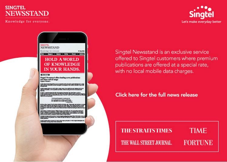 Singtel waives data usage for Newsstand service featuring The