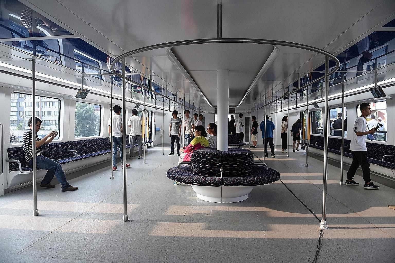 The interior of the TEB-1. Each 22m-long vehicle can carry up to 300 passengers. Up to