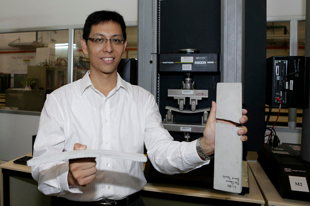 NTU-JTC scientists have developed flexible concrete that is stronger and more durable than normal 59