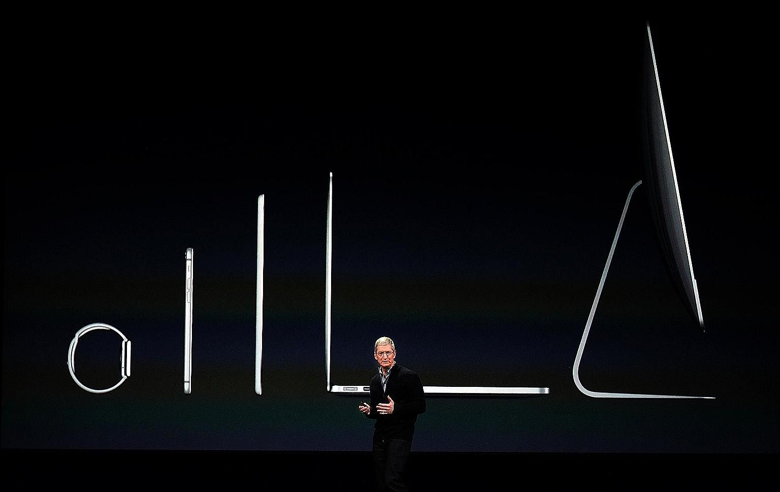 Mr Cook speaking at the March 2015 Spring Forward Event in Cupertino. The next five years will be a testing time for the Apple CEO.