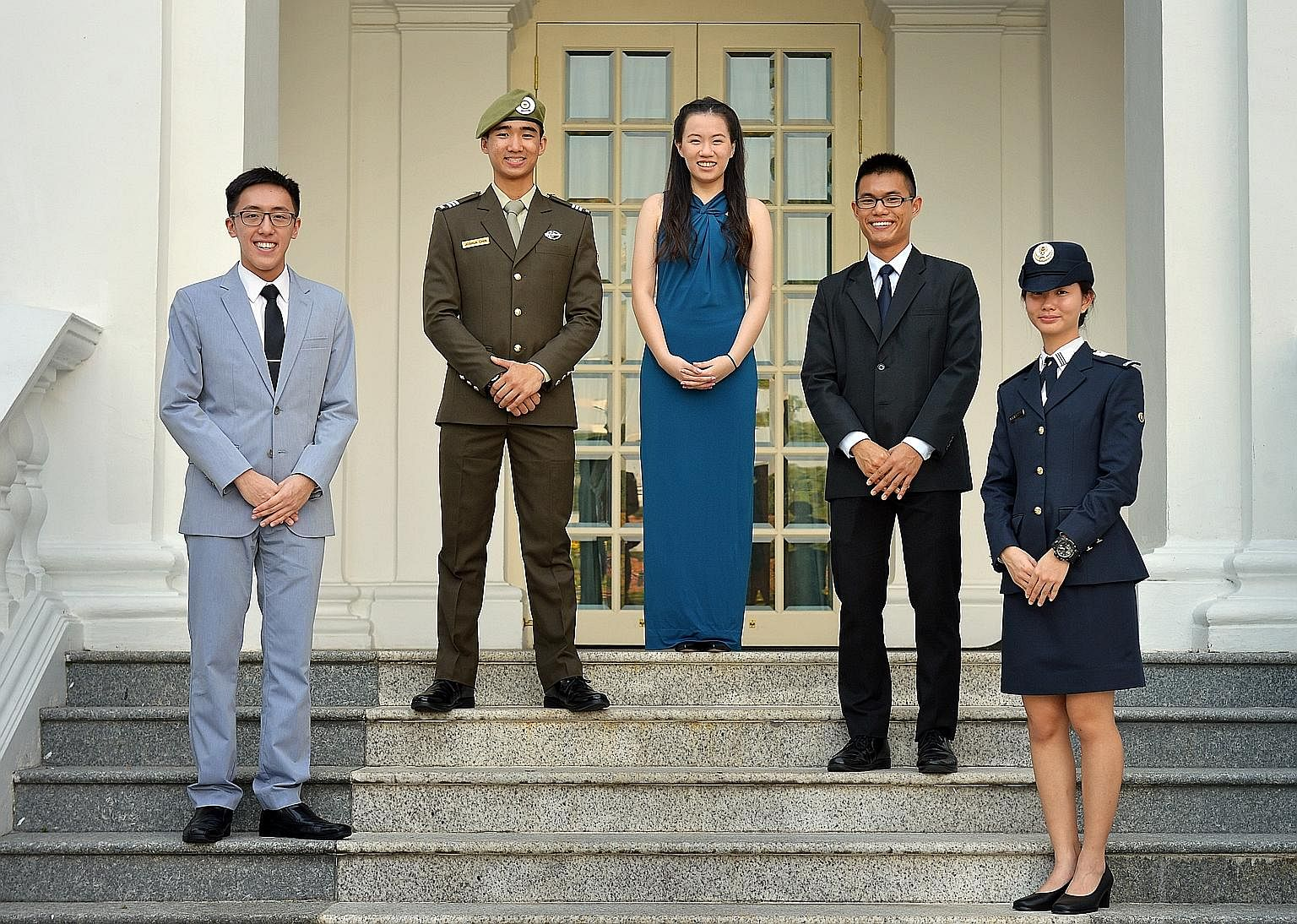 This year's President's Scholars are (from left) Sean Ong Zhi Han, Joshua Chin Zen Jie, Olivia Ong Si Hui, Timothy Ong Kah Yong and Natasha Ann Lum Mei Seem. They were picked by the Public Service Commission for their character, leadership potential