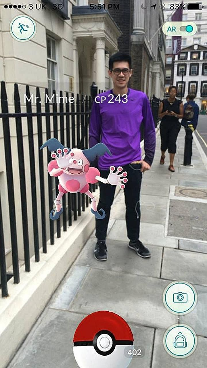 Mr Sim in a screenshot with the Europe-exclusive Pokemon, Mr Mime, outside Westminster Abbey in London. He managed to catch all 145 types of Pokemon in four weeks.