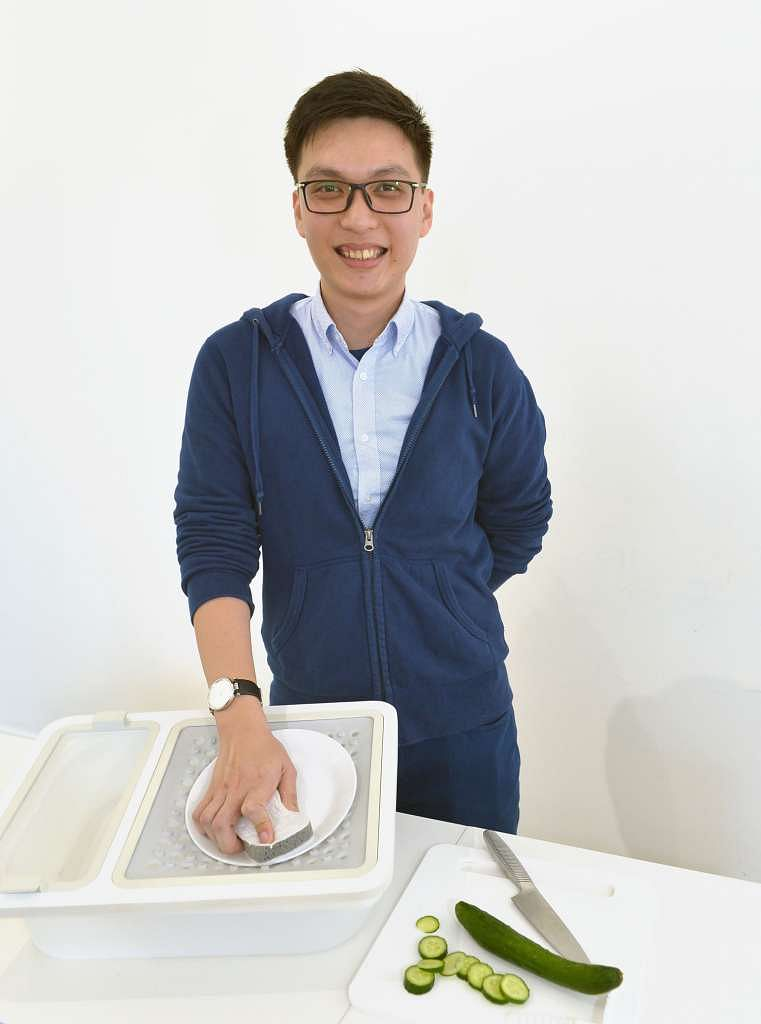 Mr Lim's modular Oneware project allows a person who has just one functioning arm to perform kitchen chores independently.