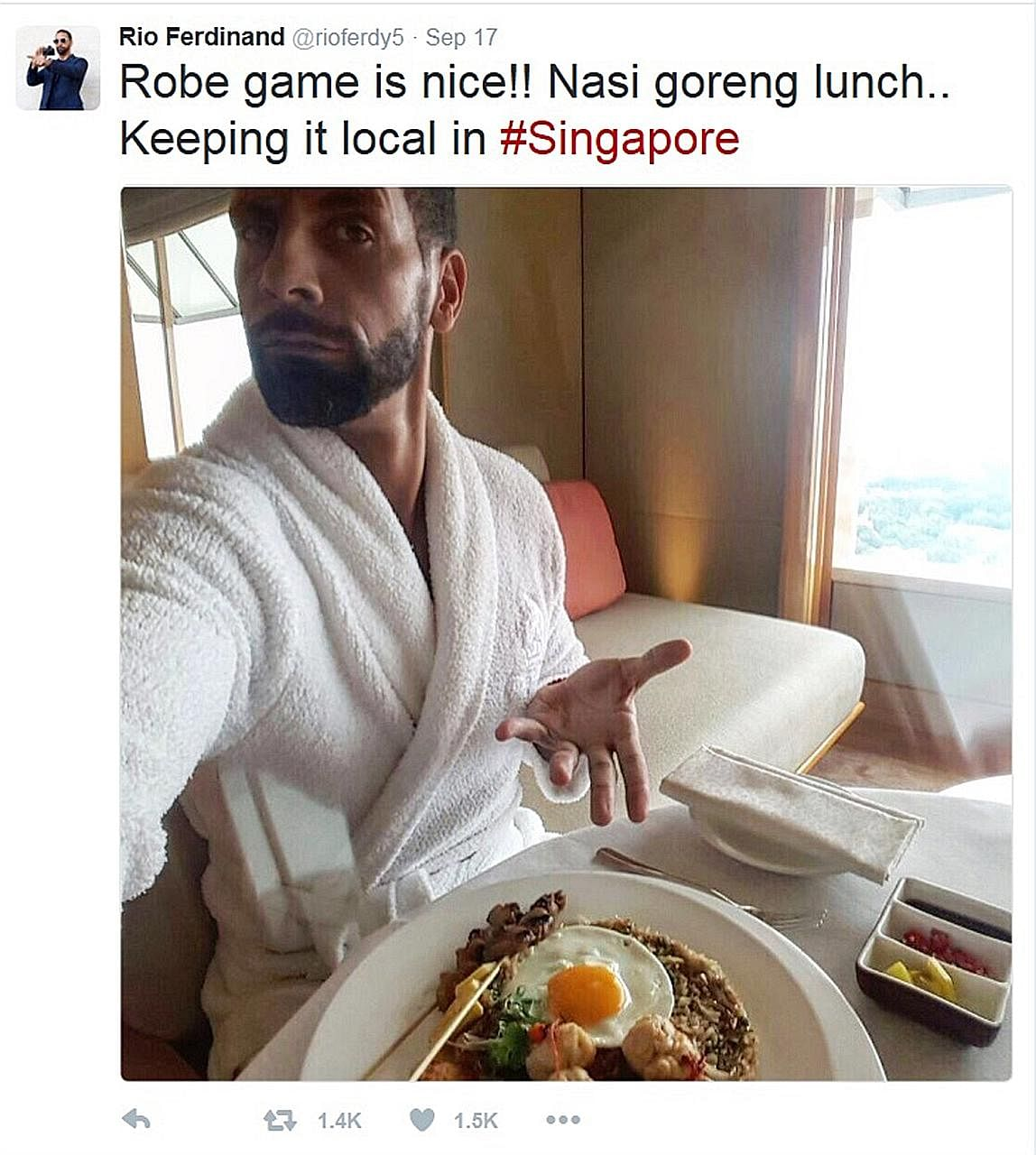Rio Ferdinand posted on social media a photo of himself with the dish in his hotel room.