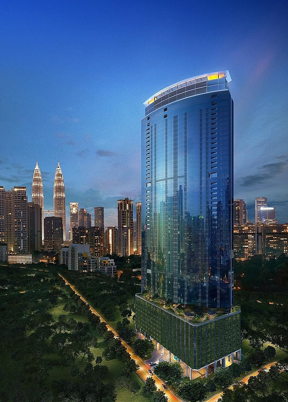 An artist's impression of Eaton Residences. Scheduled for completion in 2020, the condo's units will have views of either the Petronas Twin Towers or the Royal Selangor Golf Course.
