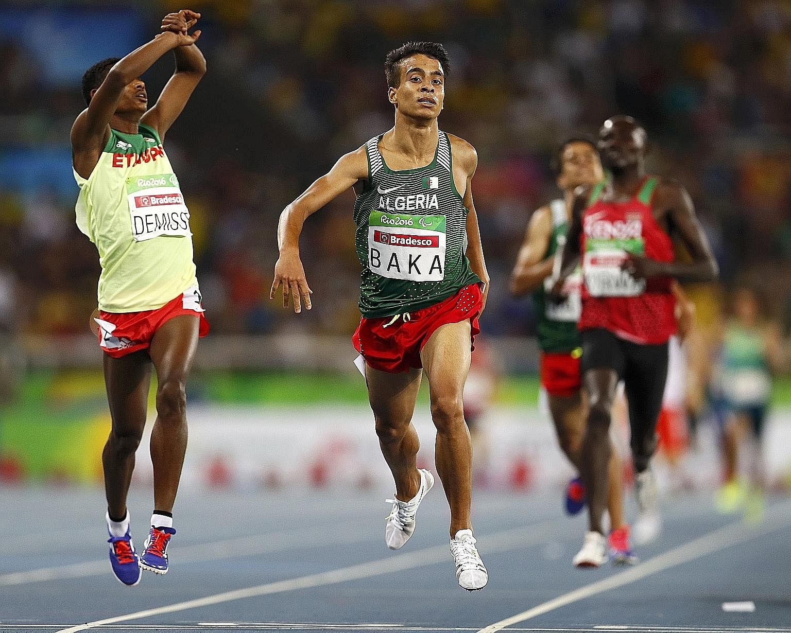 Abdellatif Baka of Algeria (right) won the T13 1,500m in a new Paralympic, Olympic and world record time in Rio de Janeiro, while Tamiru Demisse of Ethiopia took the silver.