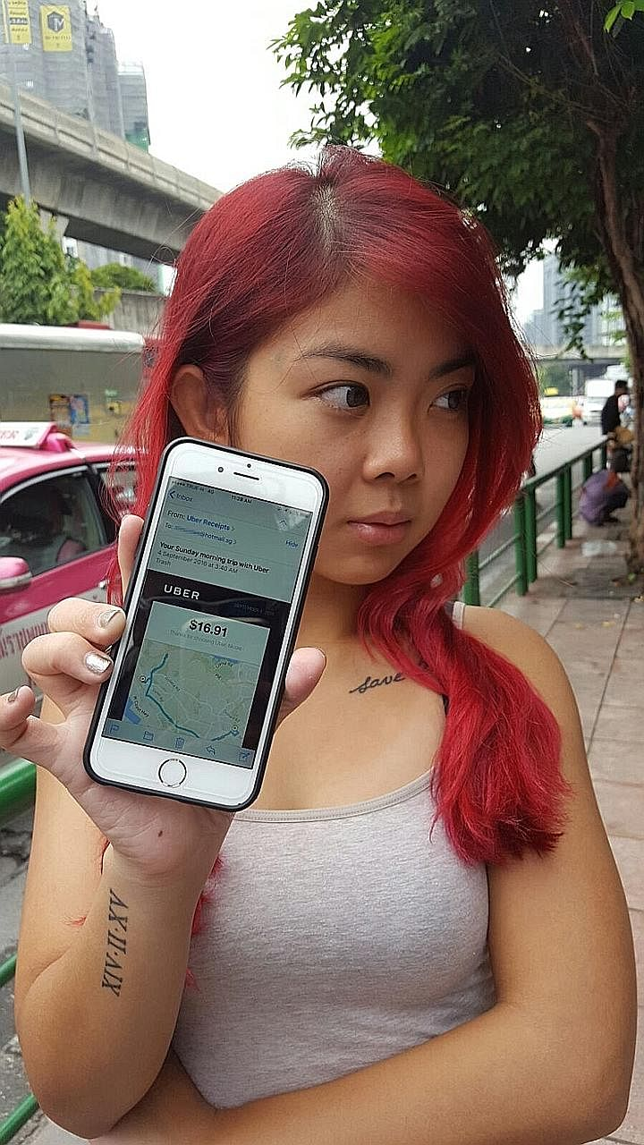 """Ms Lee showing the details of her Uber ride. She said the driver told her he had been drinking, and """"panicked"""" at the sight of a police roadblock."""