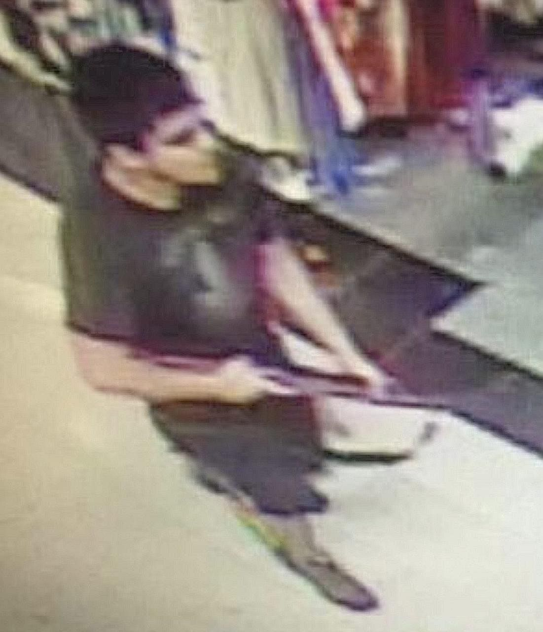 Police at the Cascade Mall (left) in Washington state after Friday night's shootings by a man (above, captured on surveillance video) armed with a rifle.