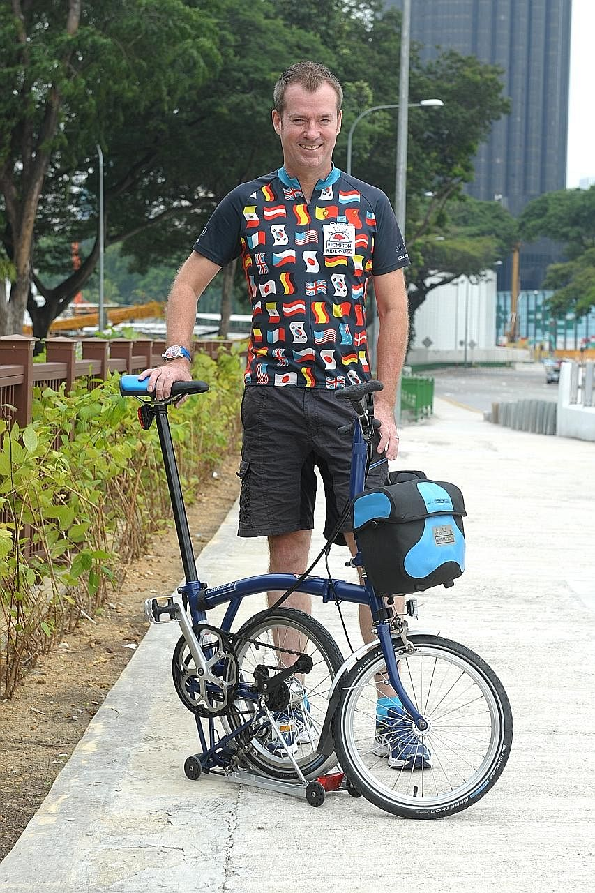 Mr Moore and his Brompton have covered about 11,000km on his quest, which he started in August 2014 as a way to both explore the island and celebrate SG50.