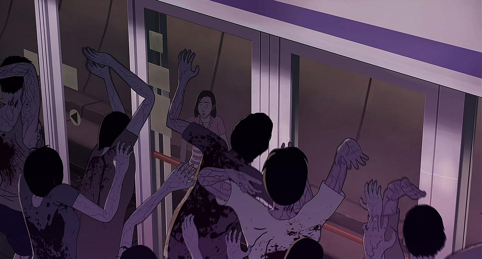 Teenager Hye Sun runs from zombies in Seoul Station (above); Melanie (Sennia Nanua, left) is infected by a spore in The Girl With All The Gifts; and Daniel Radcliffe (far left) is an FBI agent acting as bait to draw out terrorists in Imperium.